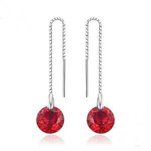 925 sterling silver created Ruby long Chain earrin